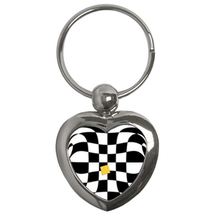 Dropout Yellow Black And White Distorted Check Key Chains (Heart)