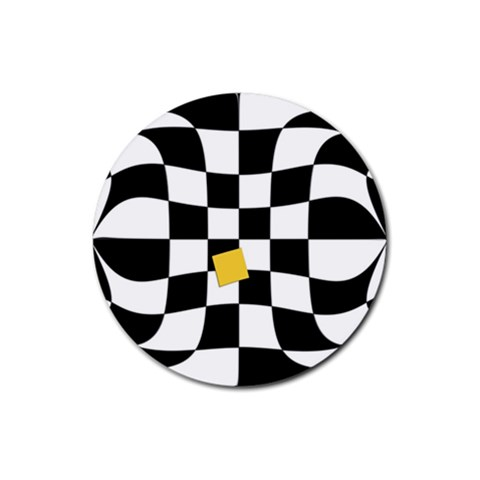 Dropout Yellow Black And White Distorted Check Rubber Coaster (Round)