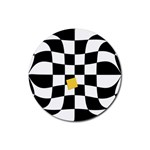 Dropout Yellow Black And White Distorted Check Rubber Coaster (Round)  Front