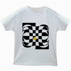 Dropout Yellow Black And White Distorted Check Kids White T-Shirts