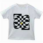 Dropout Yellow Black And White Distorted Check Kids White T-Shirts Front