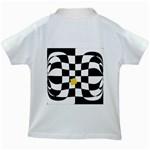 Dropout Yellow Black And White Distorted Check Kids White T-Shirts Back