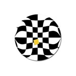 Dropout Yellow Black And White Distorted Check Magnet 3  (Round) Front