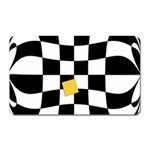 Dropout Yellow Black And White Distorted Check Magnet (Rectangular) Front