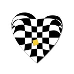 Dropout Yellow Black And White Distorted Check Heart Magnet Front