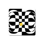 Dropout Yellow Black And White Distorted Check Square Magnet Front