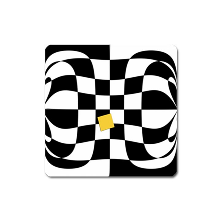 Dropout Yellow Black And White Distorted Check Square Magnet