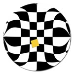 Dropout Yellow Black And White Distorted Check Magnet 5  (Round) Front