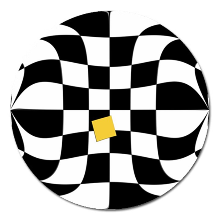 Dropout Yellow Black And White Distorted Check Magnet 5  (Round)