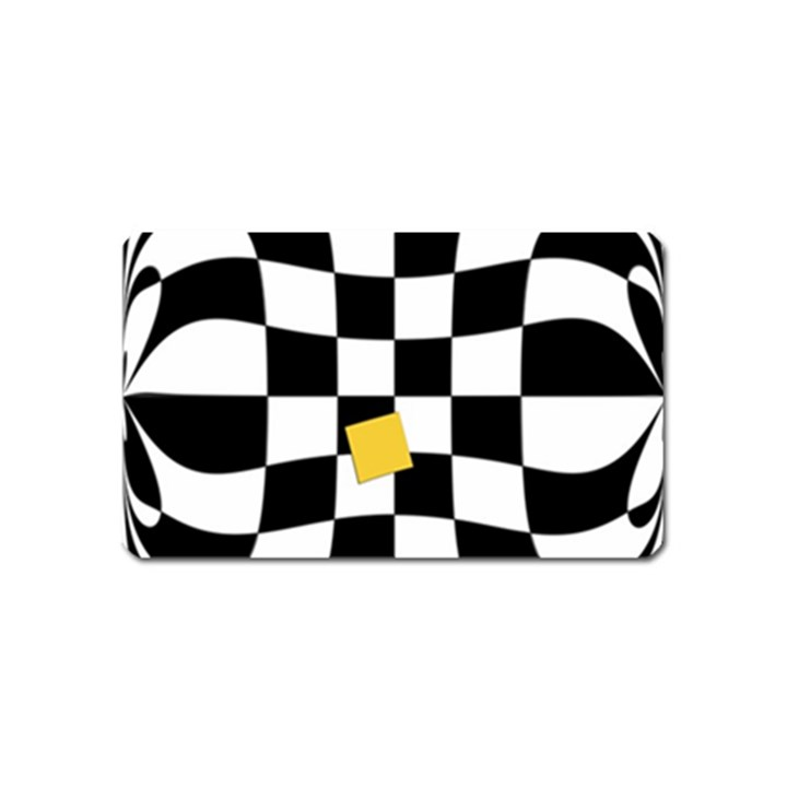 Dropout Yellow Black And White Distorted Check Magnet (Name Card)