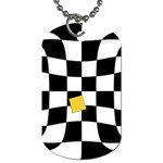 Dropout Yellow Black And White Distorted Check Dog Tag (One Side) Front
