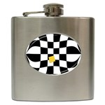 Dropout Yellow Black And White Distorted Check Hip Flask (6 oz) Front