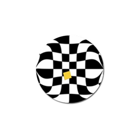 Dropout Yellow Black And White Distorted Check Golf Ball Marker