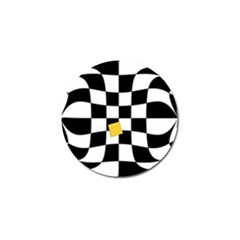 Dropout Yellow Black And White Distorted Check Golf Ball Marker (10 pack)