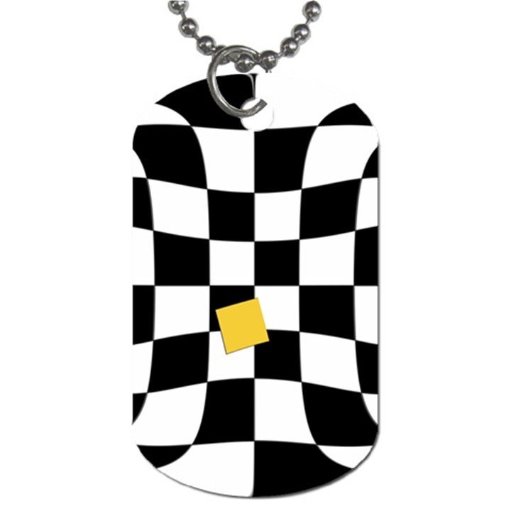 Dropout Yellow Black And White Distorted Check Dog Tag (Two Sides)