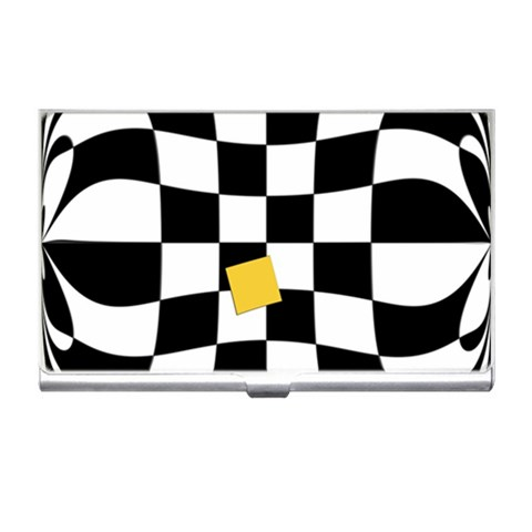 Dropout Yellow Black And White Distorted Check Business Card Holders