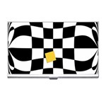Dropout Yellow Black And White Distorted Check Business Card Holders Front