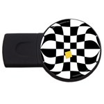 Dropout Yellow Black And White Distorted Check USB Flash Drive Round (1 GB)  Front