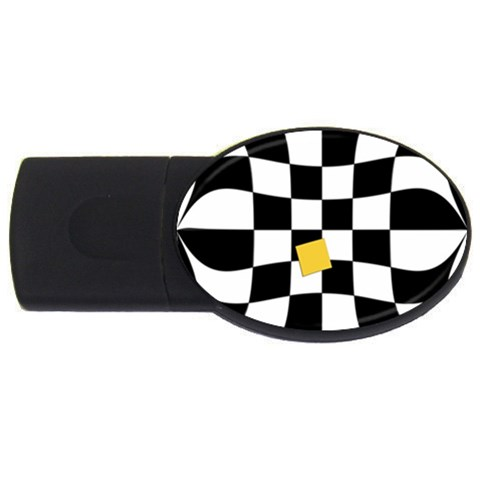 Dropout Yellow Black And White Distorted Check USB Flash Drive Oval (1 GB)