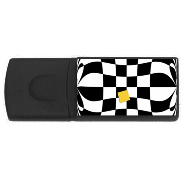 Dropout Yellow Black And White Distorted Check USB Flash Drive Rectangular (2 GB)
