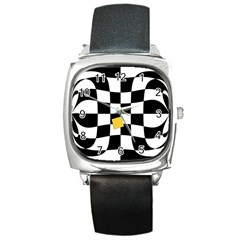 Dropout Yellow Black And White Distorted Check Square Metal Watch