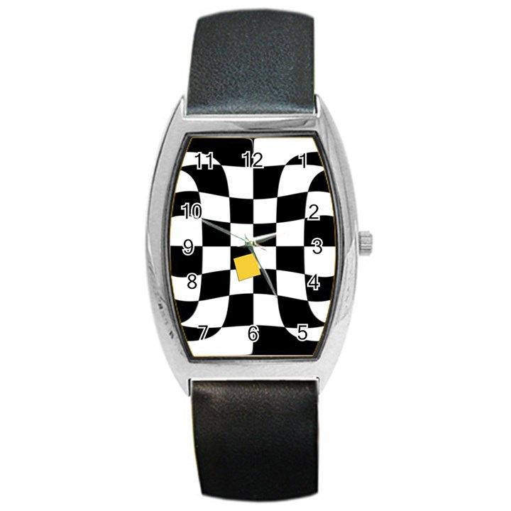 Dropout Yellow Black And White Distorted Check Barrel Style Metal Watch