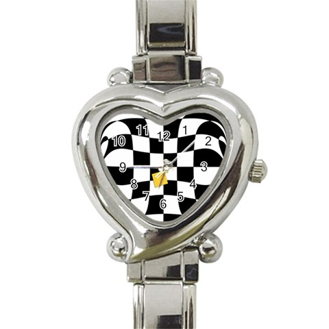 Dropout Yellow Black And White Distorted Check Heart Italian Charm Watch