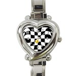 Dropout Yellow Black And White Distorted Check Heart Italian Charm Watch Front