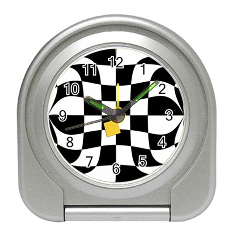 Dropout Yellow Black And White Distorted Check Travel Alarm Clocks