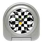 Dropout Yellow Black And White Distorted Check Travel Alarm Clocks Front