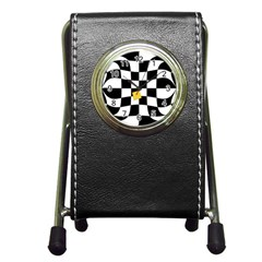 Dropout Yellow Black And White Distorted Check Pen Holder Desk Clocks