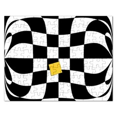 Dropout Yellow Black And White Distorted Check Rectangular Jigsaw Puzzl