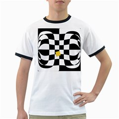 Dropout Yellow Black And White Distorted Check Ringer T Shirts