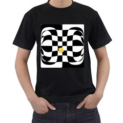 Dropout Yellow Black And White Distorted Check Men s T-Shirt (Black) (Two Sided)