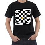 Dropout Yellow Black And White Distorted Check Men s T-Shirt (Black) (Two Sided) Front