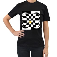 Dropout Yellow Black And White Distorted Check Women s T Shirt (black) (two Sided)