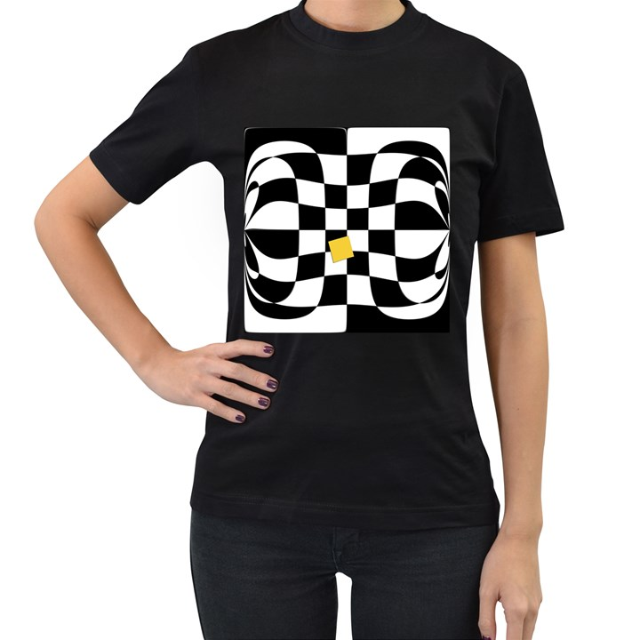 Dropout Yellow Black And White Distorted Check Women s T-Shirt (Black) (Two Sided)