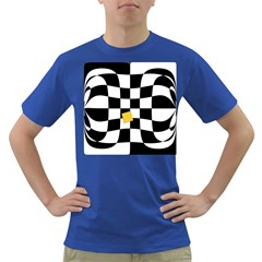 Dropout Yellow Black And White Distorted Check Dark T-Shirt