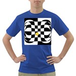 Dropout Yellow Black And White Distorted Check Dark T-Shirt Front