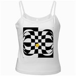 Dropout Yellow Black And White Distorted Check Ladies Camisoles Front