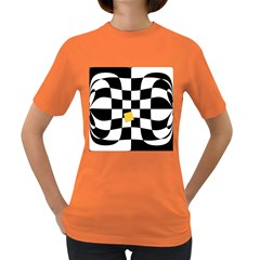 Dropout Yellow Black And White Distorted Check Women s Dark T Shirt