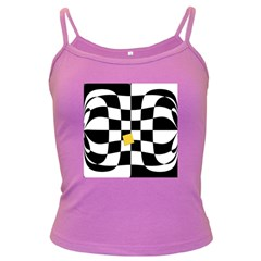 Dropout Yellow Black And White Distorted Check Dark Spaghetti Tank