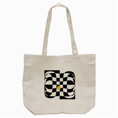 Dropout Yellow Black And White Distorted Check Tote Bag (cream)