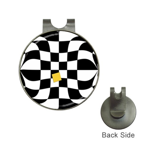 Dropout Yellow Black And White Distorted Check Hat Clips with Golf Markers