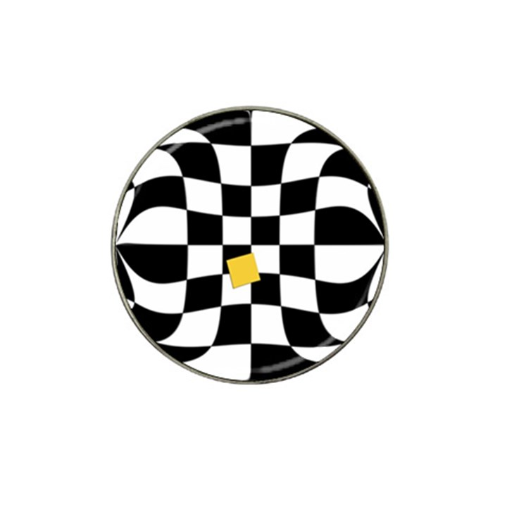 Dropout Yellow Black And White Distorted Check Hat Clip Ball Marker (4 pack)