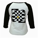 Dropout Yellow Black And White Distorted Check Kids Baseball Jerseys Back
