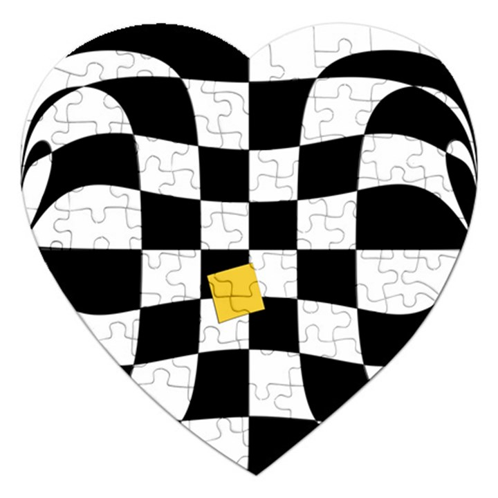 Dropout Yellow Black And White Distorted Check Jigsaw Puzzle (Heart)