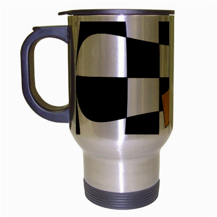 Dropout Yellow Black And White Distorted Check Travel Mug (Silver Gray)