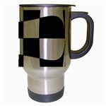 Dropout Yellow Black And White Distorted Check Travel Mug (Silver Gray) Right