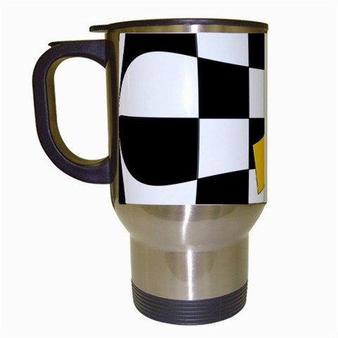 Dropout Yellow Black And White Distorted Check Travel Mugs (White)